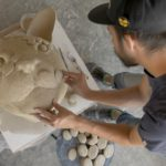 George Rodriguez working on ceramic sculptor