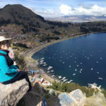Natalie Gasca overlooking Lake Titicaca in Bolivia